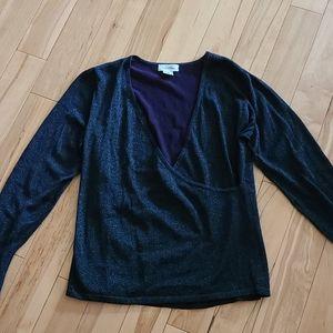 Calvin Klein thin sweater purple w/ blue sparkle